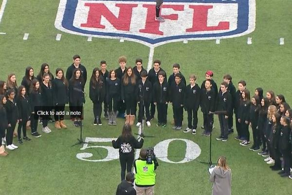 Roslyn Middle School Chorale sings at the NJ Jets game on December 3, 2017