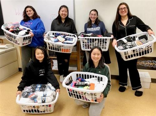Socks collected by Roslyn High School GSA