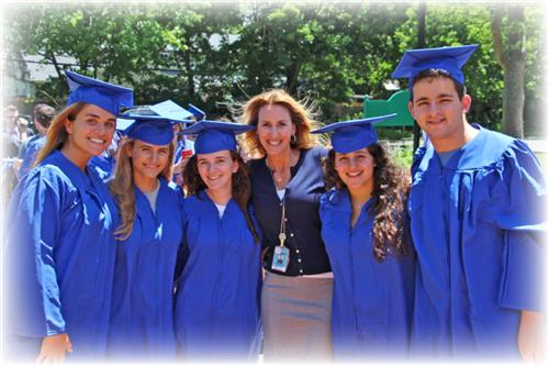 Superintendent Allison Brown with members of the Roslyn High School Class of 2017
