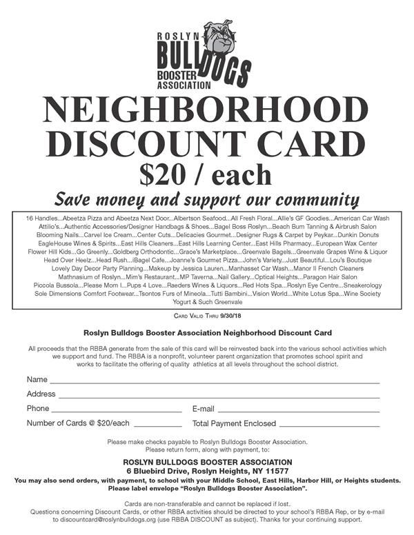 Roslyn Bulldog Booster Neighborhood Discount Cards Now on Sale!