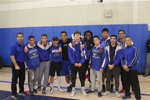 Senior Wrestlers with Coach Nguyen and Coach Palumbo