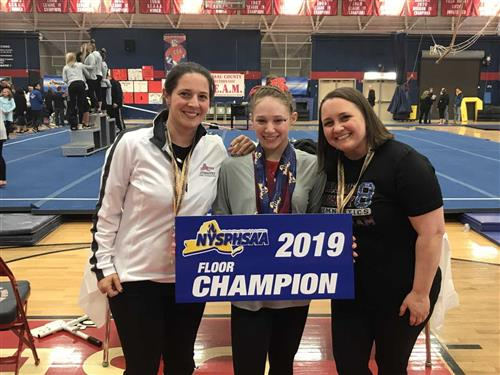 State Champion Shani Sirota with Coach Ruppert and Coach Orfini