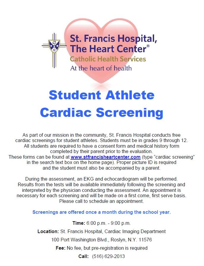 Free Cardiac Screening for Student Athletes at St. Francis Hospital