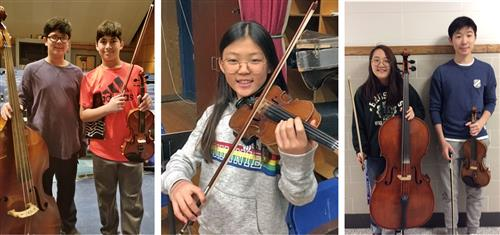 Five Roslyn students selected for the Long Island String Festival, with their instruments