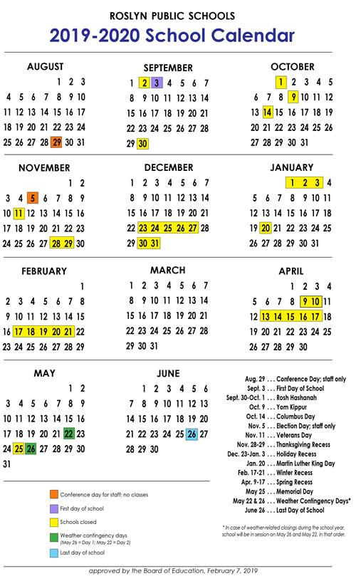 Board Of Education Calendar 2020 School Calendar 2019 20