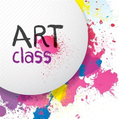 Art Class image - white circle with brightly colored paint splashes around it