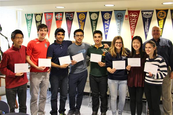 9 Roslyn High School students are pictured who are National Merit Scholarship Finalists